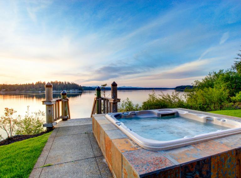 concrete hot tub pad