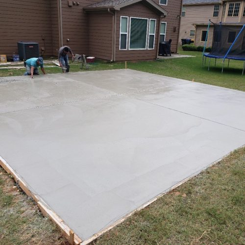 concrete slabs being poured